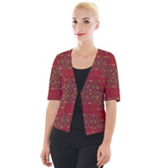 Boho Red Gold Cropped Button Cardigan