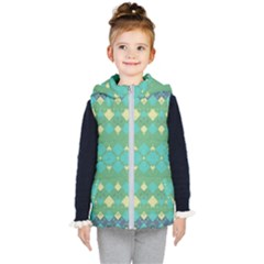 Boho Green Blue Checkered Kids  Hooded Puffer Vest by SpinnyChairDesigns