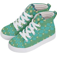 Boho Green Blue Checkered Kids  Hi-top Skate Sneakers by SpinnyChairDesigns