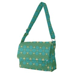 Boho Green Blue Checkered Full Print Messenger Bag (m) by SpinnyChairDesigns