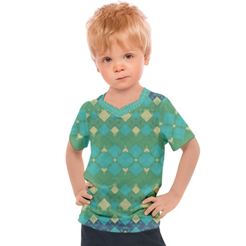 Boho Green Blue Checkered Kids  Sports Tee by SpinnyChairDesigns