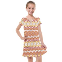 Boho Red Gold White Kids  Cross Web Dress by SpinnyChairDesigns