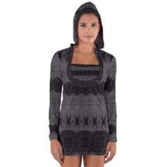 Boho Black Grey Pattern Long Sleeve Hooded T-shirt by SpinnyChairDesigns