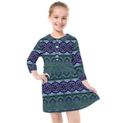 Boho Blue Green  Kids  Quarter Sleeve Shirt Dress by SpinnyChairDesigns