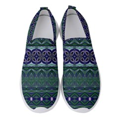 Boho Blue Green  Women s Slip On Sneakers by SpinnyChairDesigns