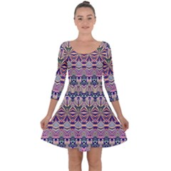 Colorful Boho Pattern Quarter Sleeve Skater Dress