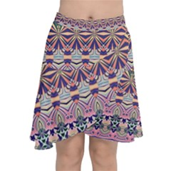 Colorful Boho Pattern Chiffon Wrap Front Skirt