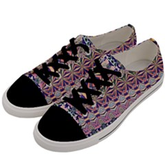 Colorful Boho Pattern Men s Low Top Canvas Sneakers by SpinnyChairDesigns