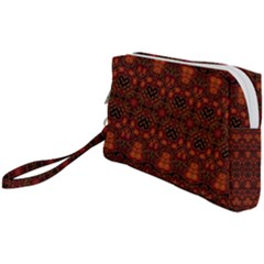 Boho Dark Red Floral Wristlet Pouch Bag (small) by SpinnyChairDesigns