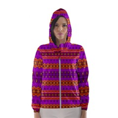 Boho Magenta And Gold Women s Hooded Windbreaker by SpinnyChairDesigns