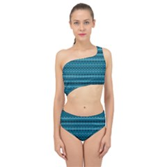 Boho Teal Pattern Spliced Up Two Piece Swimsuit by SpinnyChairDesigns