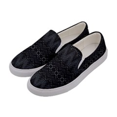 Boho Black And Silver Women s Canvas Slip Ons by SpinnyChairDesigns