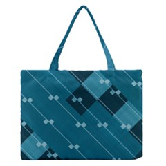 Teal Blue Stripes And Checks Zipper Medium Tote Bag