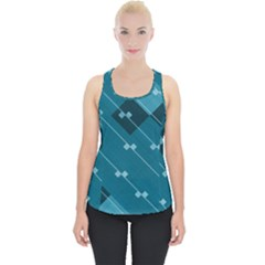 Teal Blue Stripes And Checks Piece Up Tank Top by SpinnyChairDesigns