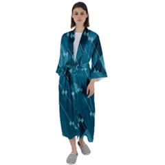 Teal Blue Stripes And Checks Maxi Satin Kimono