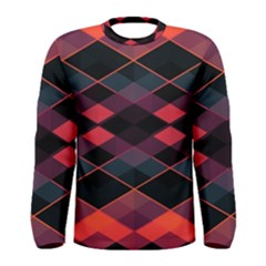 Pink Orange Black Diamond Pattern Men s Long Sleeve Tee
