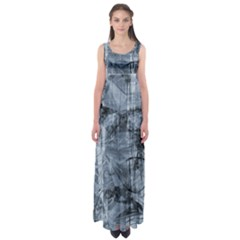 Faded Blue Texture Empire Waist Maxi Dress