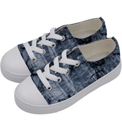 Faded Blue Texture Kids  Low Top Canvas Sneakers by SpinnyChairDesigns