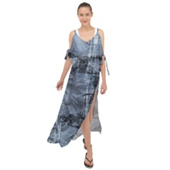 Faded Blue Texture Maxi Chiffon Cover Up Dress
