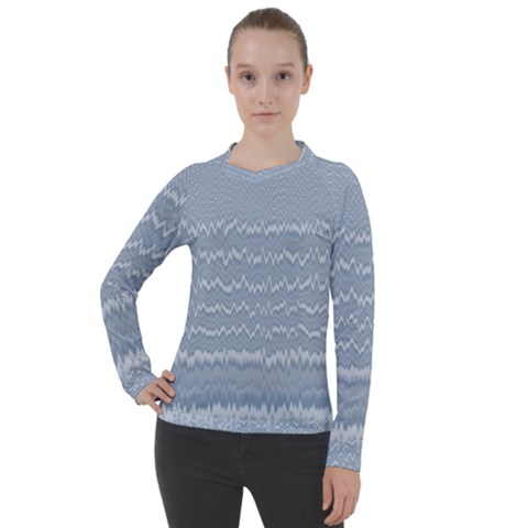 Boho Faded Blue Stripes Women s Pique Long Sleeve Tee by SpinnyChairDesigns