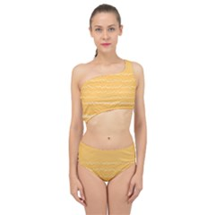 Boho Saffron Yellow Stripes Spliced Up Two Piece Swimsuit by SpinnyChairDesigns