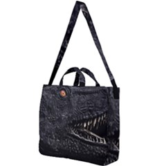 Trex Dinosaur Head Dark Poster Square Shoulder Tote Bag