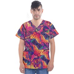 Colorful Boho Abstract Art Men s V-neck Scrub Top