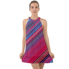 Boho Pink Blue Stripes Halter Tie Back Chiffon Dress