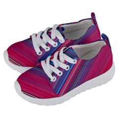 Boho Pink Blue Stripes Kids  Lightweight Sports Shoes by SpinnyChairDesigns