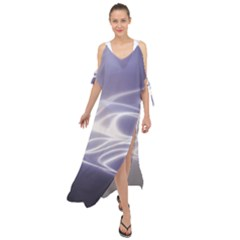 Violet Glowing Swirls Maxi Chiffon Cover Up Dress by SpinnyChairDesigns