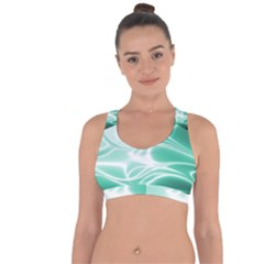 Biscay Green Glow Cross String Back Sports Bra by SpinnyChairDesigns