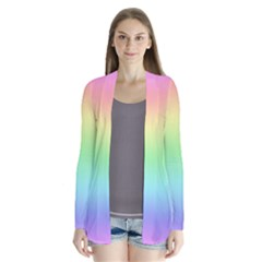 Pastel Rainbow Ombre Drape Collar Cardigan by SpinnyChairDesigns