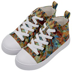 Boho Colorful Mosaic Kids  Mid-top Canvas Sneakers by SpinnyChairDesigns