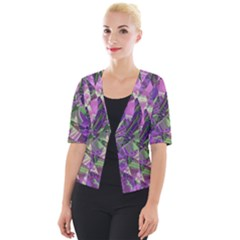 Boho Violet Mosaic Cropped Button Cardigan by SpinnyChairDesigns