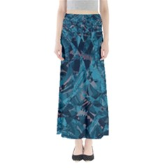 Boho Cerulean Blue Mosaic Full Length Maxi Skirt by SpinnyChairDesigns
