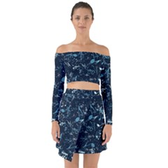 Prussian Blue Music Notes Off Shoulder Top With Skirt Set