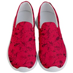 Scarlet Red Music Notes Men s Lightweight Slip Ons by SpinnyChairDesigns