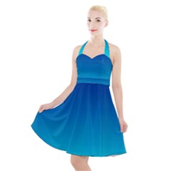Aqua Blue And Indigo Ombre Halter Party Swing Dress
