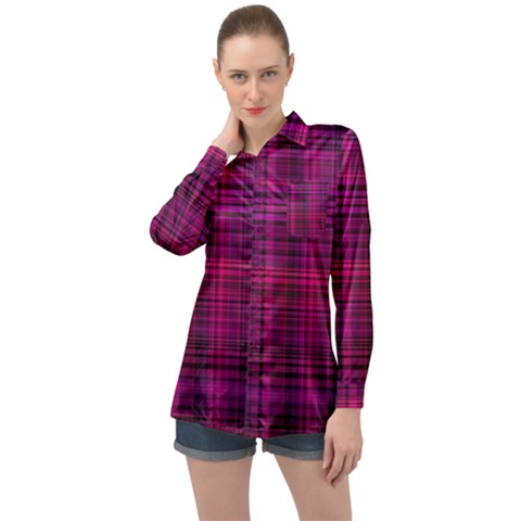 Fuchsia Madras Plaid Long Sleeve Satin Shirt by SpinnyChairDesigns