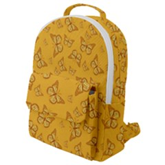 Mustard Yellow Monarch Butterflies Flap Pocket Backpack (small)