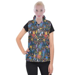 Abstract Paint Splatters Women s Button Up Vest