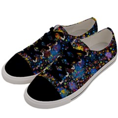 Abstract Paint Splatters Men s Low Top Canvas Sneakers by SpinnyChairDesigns