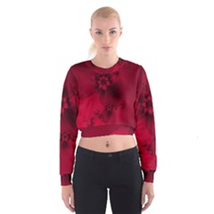Scarlet Red Floral Print Cropped Sweatshirt by SpinnyChairDesigns