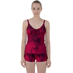 Scarlet Red Floral Print Tie Front Two Piece Tankini by SpinnyChairDesigns