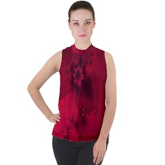 Scarlet Red Floral Print Mock Neck Chiffon Sleeveless Top by SpinnyChairDesigns