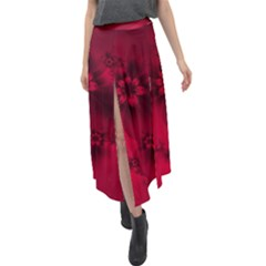 Scarlet Red Floral Print Velour Split Maxi Skirt by SpinnyChairDesigns