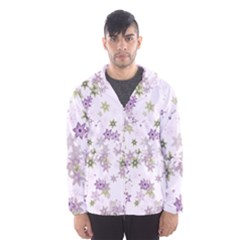 Purple Wildflower Print Men s Hooded Windbreaker by SpinnyChairDesigns