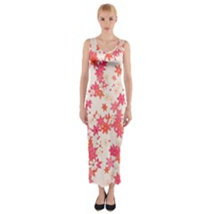 Vermilion And Coral Floral Print Fitted Maxi Dress