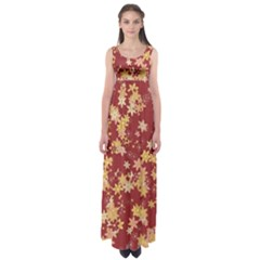 Gold And Tuscan Red Floral Print Empire Waist Maxi Dress