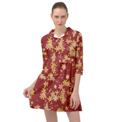 Gold And Tuscan Red Floral Print Mini Skater Shirt Dress